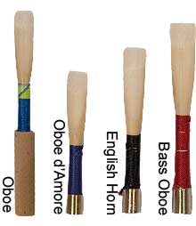 photograph of oboe and English horn double reeds